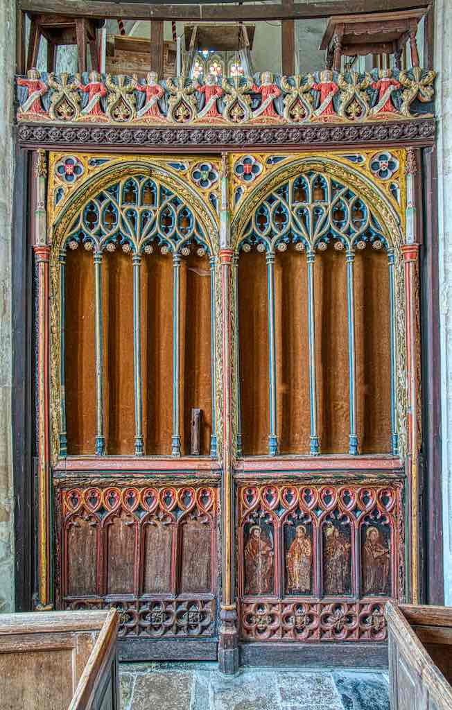 This beautiful portion of a 15th century roodscreen was moved over from a redundant Exeter church.