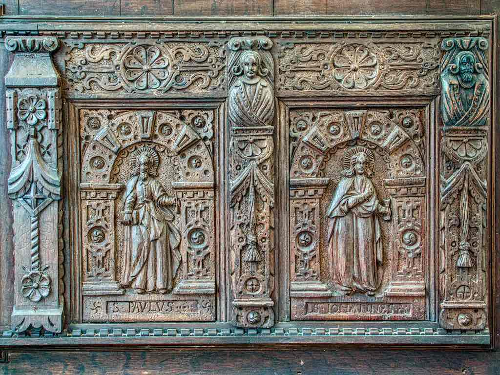 Stunning 16th century Devon carving, showing St Paul and St John