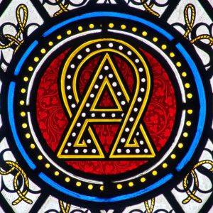 Stained Glass Alpha And Omega Victorian 19th Century Little Torrington