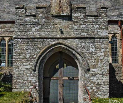 Stonework Church Door Porch Battlements 15th Century Medieval Wall Marwood