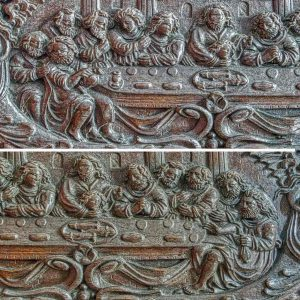 Wood Carving Plain Figures Last Supper 17th Century Flemish Offwell
