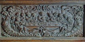 Wood Carving Plain Figures Last Supper Flemish 17th Century Offwell