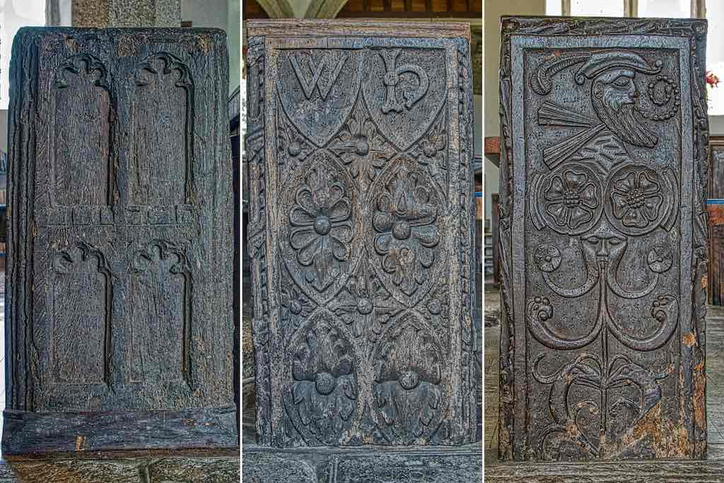 Medieval bench ends in age order, the earliest on the left.