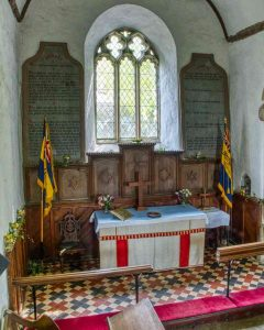 Chancel Interior 15th Century Granite Tiles Altar East Window Thrushelton