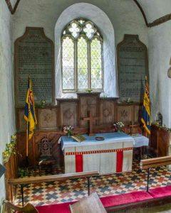 Chancel Interior 15th Century Granite Tiles Altar East Window Thrushelton