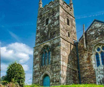 Church Exterior West Tower Stonework 15th Century Medieval Granite Churchyard Trees Thrushelton