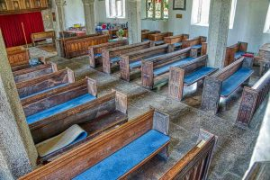 Church Interior Nave Pews Benchends Wood Carving Plain 15th Century Medieval North Bovey