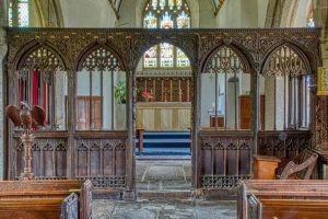 Church Interior Nave Rood Screen Wood Carving Plain 15th Century Medieval North Bovey