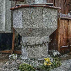 Font Carving Granite Stone Plain 15th Century Medieval Thrushelton