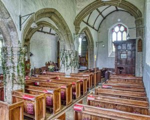 Pillars Carving Granite Stone Plain Capitals 14th 15th Century Medieval Granite Pews Sout Aisle Thrushelton
