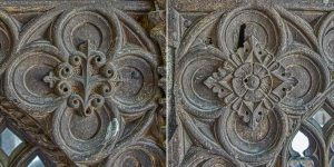 Rood Screen Wood Carving Plain Quatrefoils 15th Century Medieval North Bovey