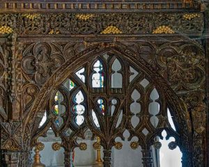 Rood Screen Wood Carving Plain Tracery Cornice 15th Century Medieval North Bovey