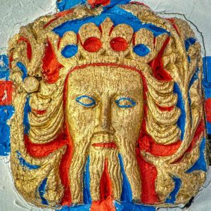Roof Boss Crowned Man Wood Carving Coloured Pride 15th Century Medieval North Bovey