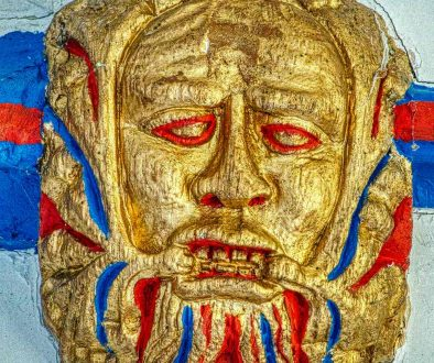 Roof Boss Green Man Wood Carving Coloured Sinner 15th Century Medieval North Bovey