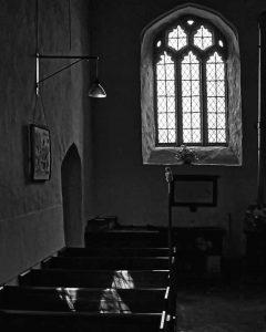 South Aisle Interior 15th Century Granite Window Balck And White Light And Shadow Thrushelton