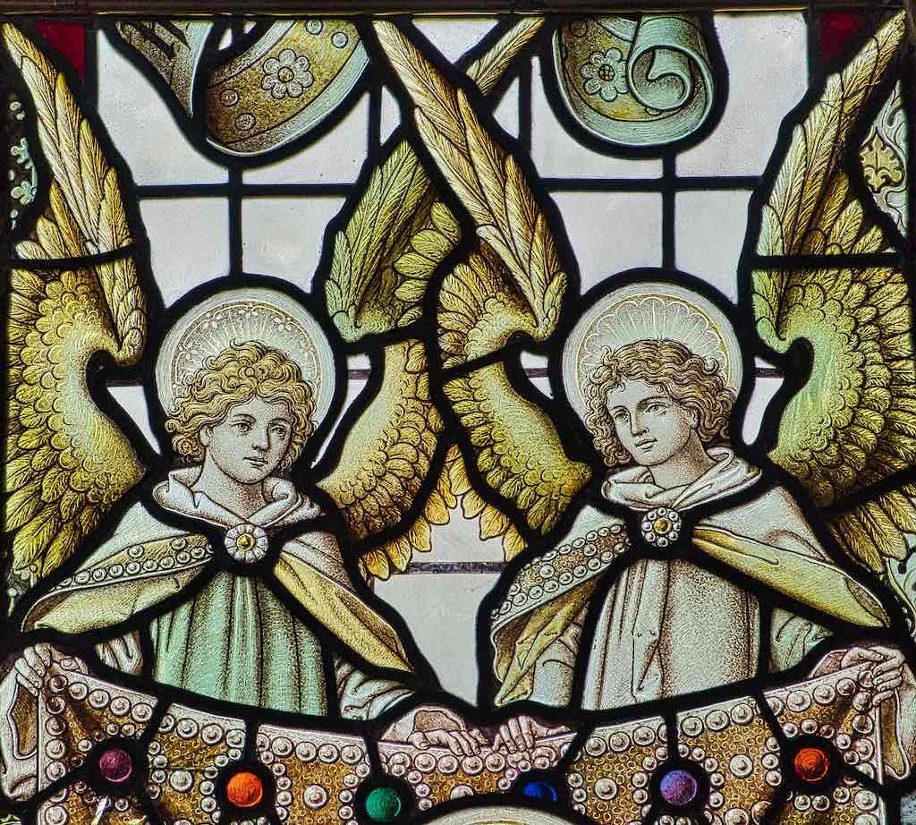 Jewelled angels in the East Window