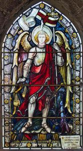 Stained Glass Angels St Michael Dragon Victorian 19th Century North Bovey