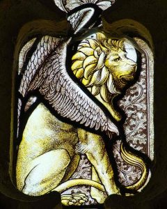 Stained Glass Winged Lion Symbol Saint Mark Victorian 19th Century North Bovey