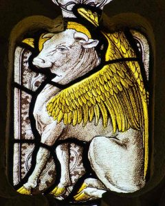 Stained Glass Winged Ox Symbol Saint Luke Victorian 19th Century North Bovey