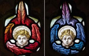 Stained Glass Wings Angels Victorian 19th Century North Bovey