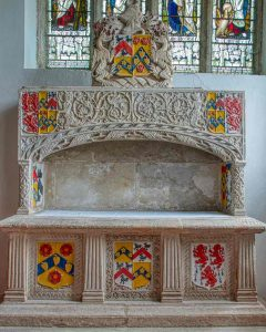 Altar Tomb Coats Of Arms Limestone Stone Carving Plain Renaissance Mannerist South Chapel Ermington