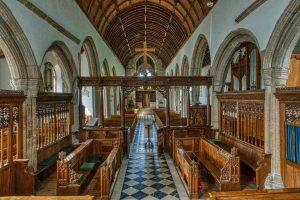 Chancel Church Interior Marble Floor Stalls Screen Medieval Ermington
