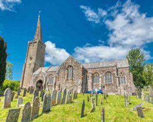 Church Exterior Graveyard South Hams West Tower Spire 14th Century Medieval Devon Ermington