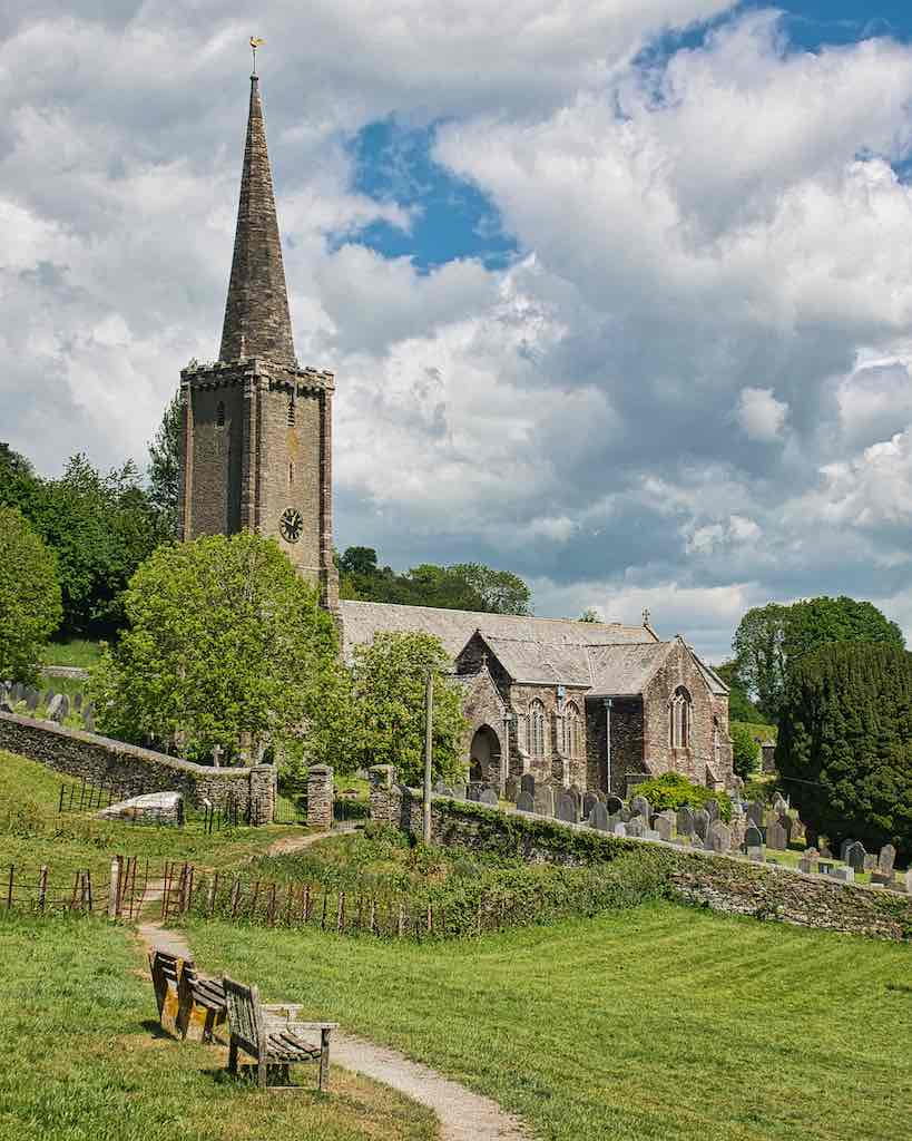 Stunningly situated, Ermington church dates from the 13th century (the tower) onwards
