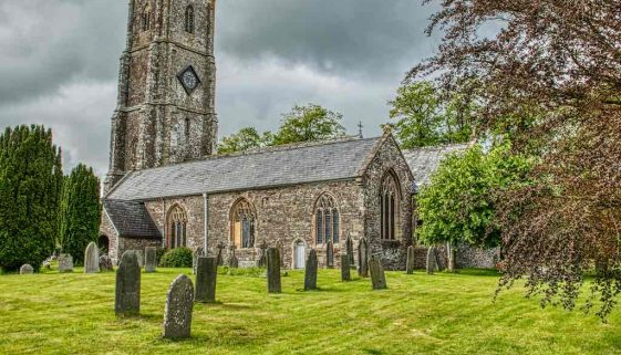Church Exterior West Tower Churchyard Graveyard 15th Century Medieval Bishops Nympton