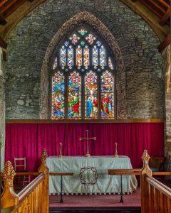 Church Interior Chancel Sanctuary Altar East Window Cloth Antependium Dossal Crown Of Thorns Stonework 15th Century Medieval Bishops Nympton