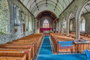 Church Interior Nave Pews Pillars Stonework 15th Century Medieval Bishops Nympton
