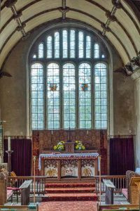 Church Interior Sanctuary Chancel Altar East Window Granite Stonework 15th Century Medieval Sampford Courtenay