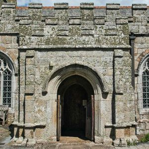 Church Porch Door Carving Stone Plain Granite Stonework 15th Century Medieval Sampford Courtenay
