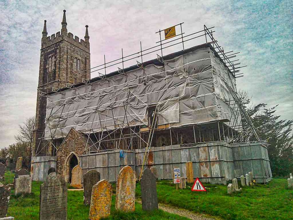 Repairing the roof of Bondleigh Church with the help of the Trust