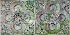 Easter Sepulchre Stone Carving Plain Quatrefoils Flowerheads 16th Century Medieval Sanctuary Bishops Nympton