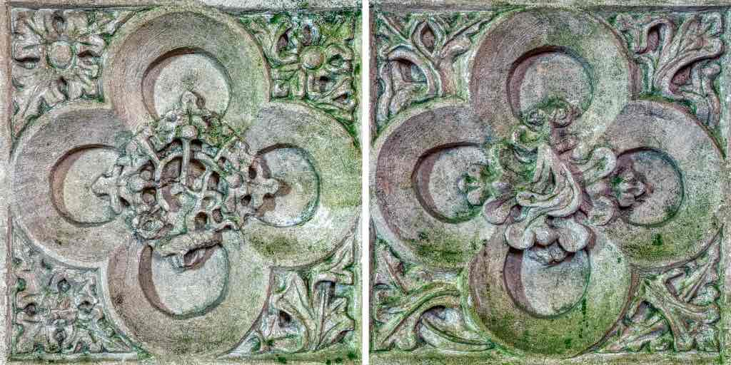 The four leaf (quatrefoil) carvings at the bottom of the Easter Sepulchre.