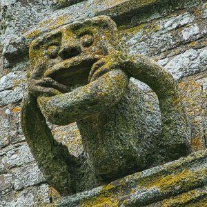Grotesque Babewyn Mouth Puller Stone Carving Plain Demon Apotropaic Bishops Nympton
