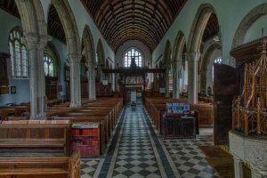 Nave Church Interior Marble Floor Pews Aisles Medieval Ermington