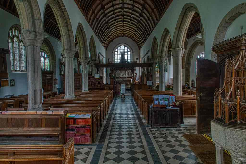 The probable 13th century nave and chancel, with later 15th century pillars and aisles either side