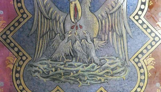Pelican In Her Piety Painting Reredos Victorian 19th Century Symbol Exeter St Wynards Chapel