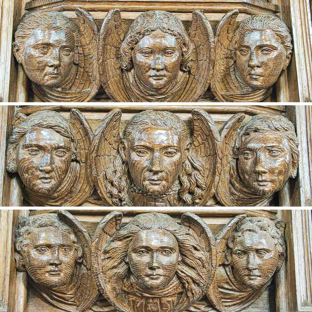 Angel heads from the pulpit, or are they Pinwills?