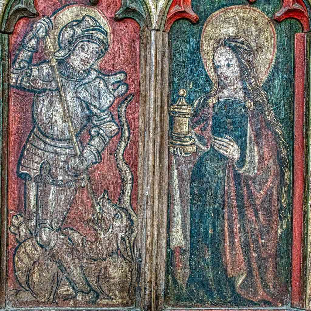 St George and Mary Magdalen on the rood screen of Ashton church, another recipient of a grant.