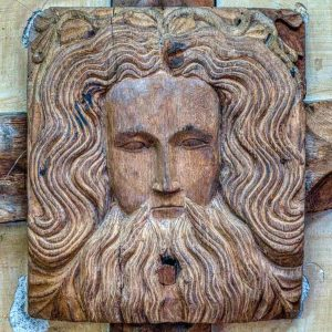 Roof Boss Oak God Head Man Beard Wood Carving Plain 15th Century Medieval Sampford Courtenay