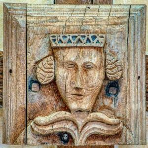 Roof Boss Oak God Head Woman Queen Wood Carving Plain 15th Century Medieval Sampford Courtenay