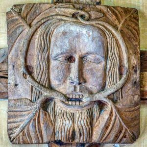Roof Boss Oak Head Green Man Wood Carving Plain Foliage 15th Century Medieval Sampford Courtenay
