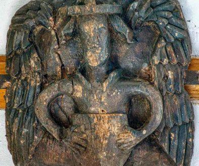 Roof Bosses Angel 16th Century Medieval Wood Carving Plain Bishops Nympton