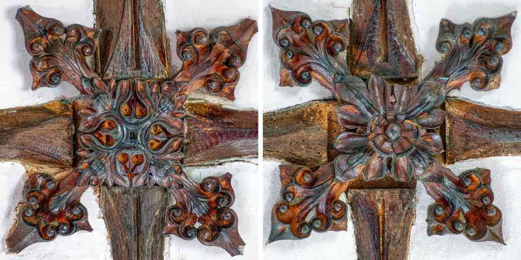 Delicately carved oak roof bosses in the nave.