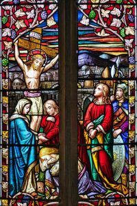 Stained Glass Crucifixion Virgin Mary Jesus Christ Victorian 19th Century Bishops Nympton