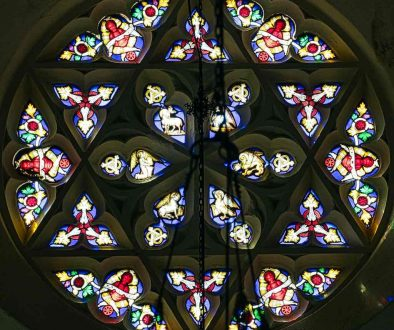 Stained Glass Instruments Of Passon Victorian 19th Century Rose Window Four Evangelists Angels Chevithorne