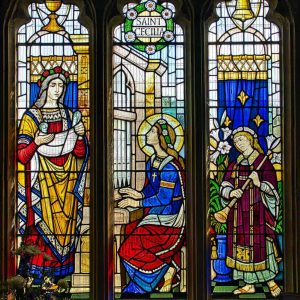 Stained Glass Saint Cecilia Music Victorian 19th Century Angel Bishops Nympton